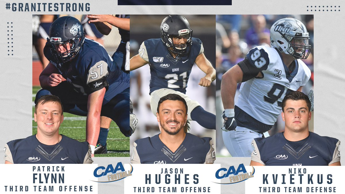 It's time to announce the @CAAFootball All-Conference awards. Congrats to Patrick, Jason and Niko for their selection to the Third Team!!! #GraniteStrong