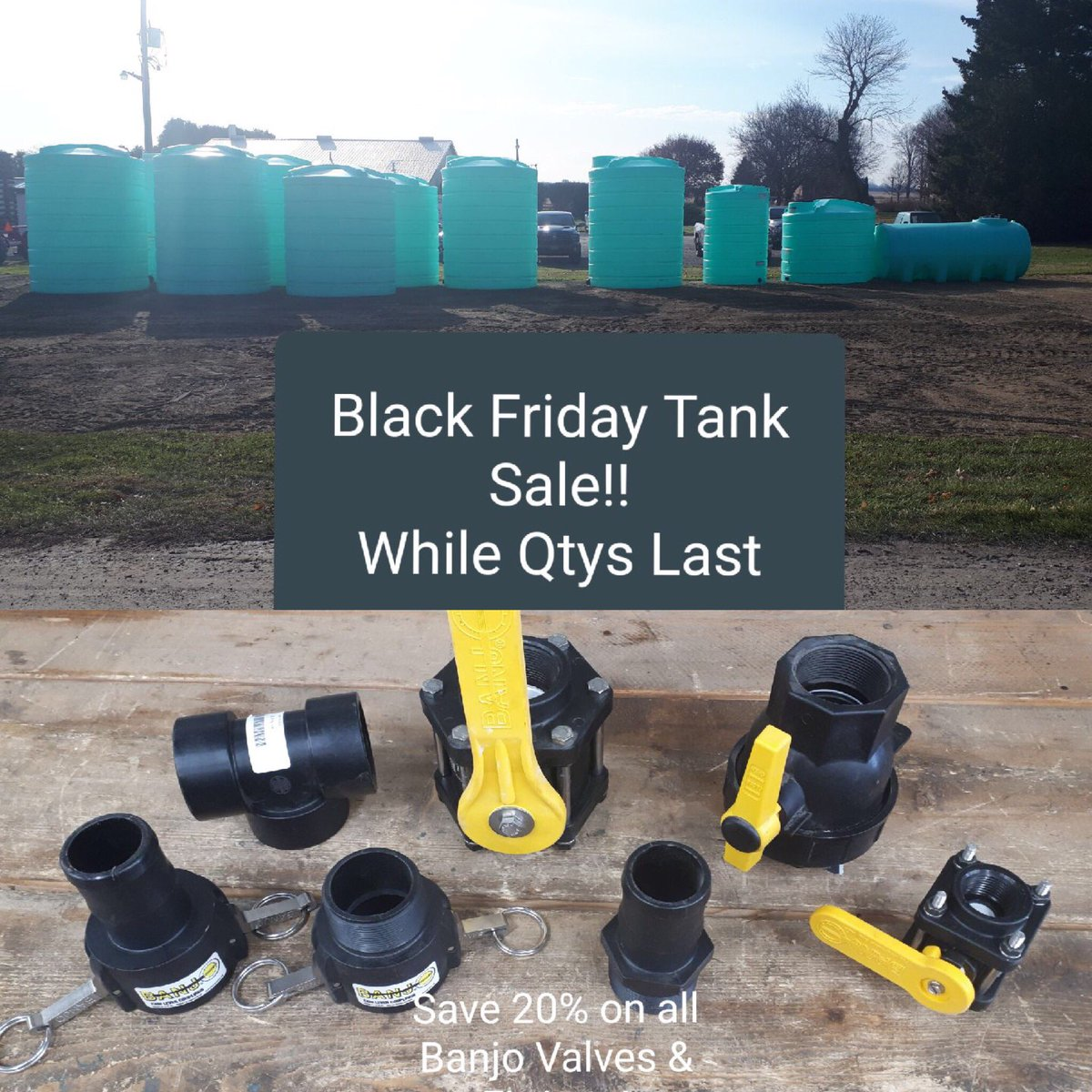 Sale Alert! Tanks and fitting available @kearney_parts call for sizes, prices, availability and delivery options #BlackFridaySale #storage