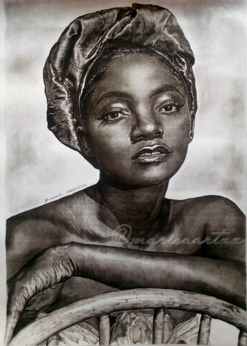 Hello Twitter! I'm Eghove Maro from Ojo, Lagos. This is a portrait I did this month of Simi... Beautiful isn't she? Medium: Charcoal pencil on paper. Size: 40*60cm Artist: Myself #marisaartzz You can reach me on my mobile _09037191772_ thanks. #SymplySimi #Blackbeautypic.twitter.com/TiZwECzDJ1