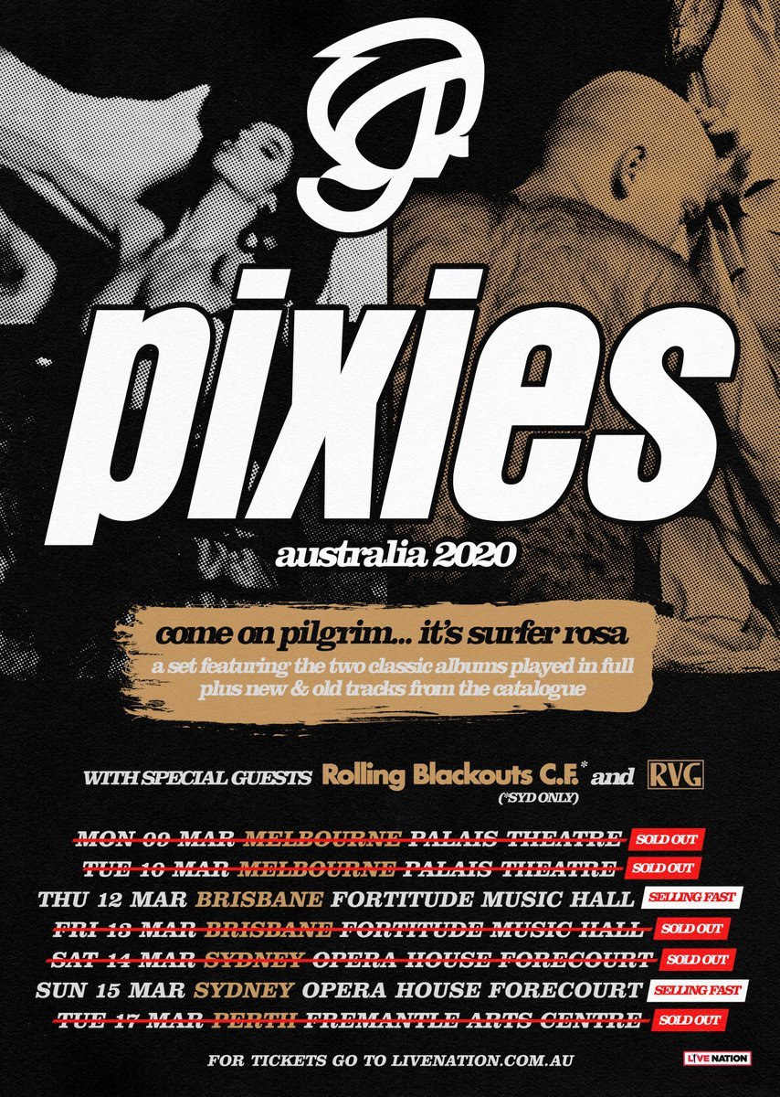 OK so in cool news we're playing 2 shows with @PIXIES on the Sydney Opera House steps (also RVG!!) These records are huge & obvious influences on us, so this is a teen dream come true 🖤