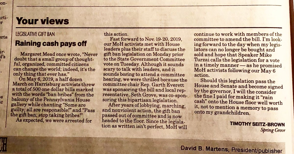 Civil disobedience works! Great letter to the editor in the York Dispatch from MoH volunteer Tim Seitz Brown 💯💯