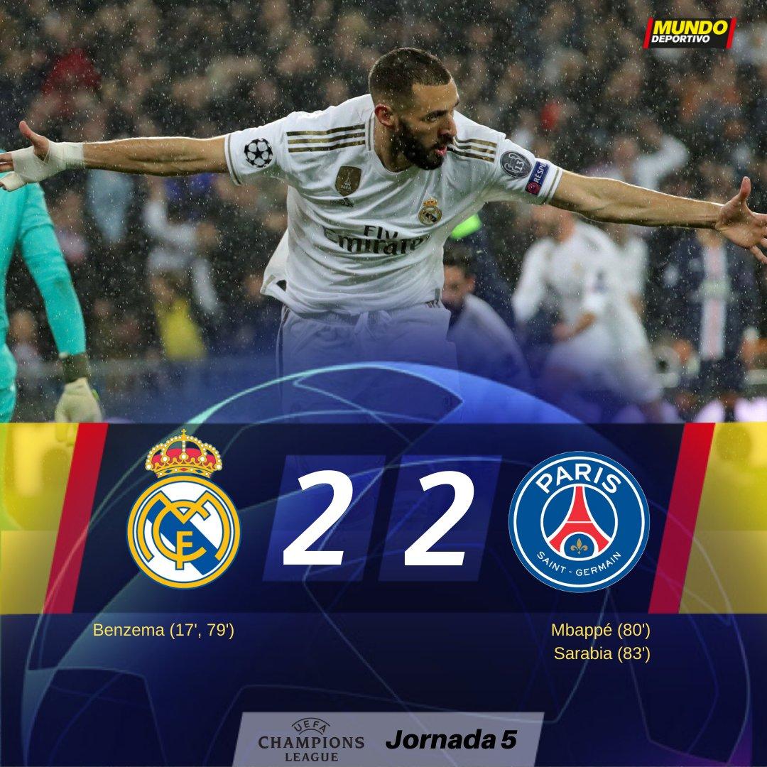 FINAL   El PSG le empata el partido al Real Madrid. que acabará segundo la fase de grupos mundodeportivo.com/futbol/champio…