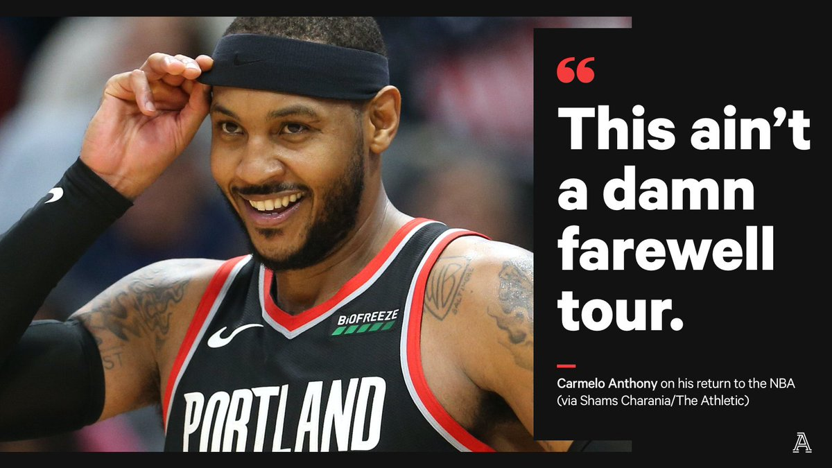Aint no retiring on my mind. I believe in what I have left. A powerful interview with @carmeloanthony, exclusively on @TheAthleticNBA | @ShamsCharania 🔗 theathletic.com/1411505/?sourc…