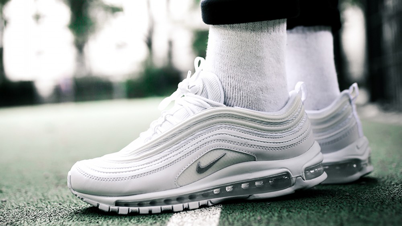 Air Max 97 Triple White On Feet Off 60 Bonyadroudaki Com
