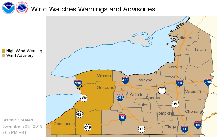 NWS issues Wind Advisory for all of FLX; High Wind Warning issued for WNY