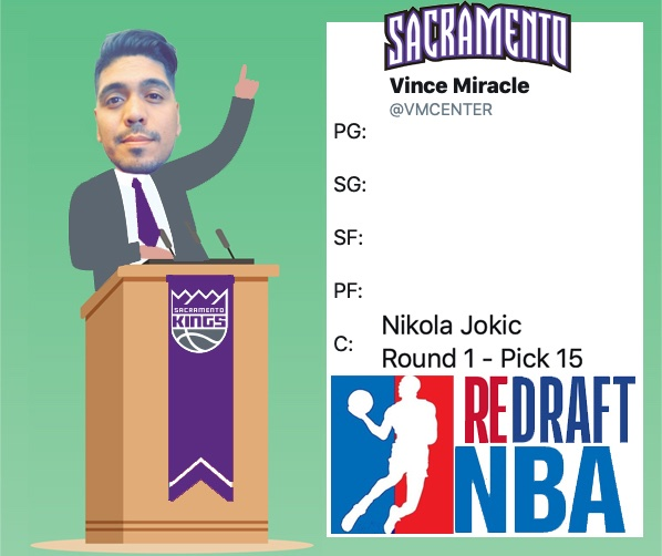 With the Fifteenth Pick of Round One @VMCENTER Representing the @SacramentoKings Selects: Nikola Jokic#ReDraftNBA #NBATwitter #NBADraftOn the clock: @Jannelle12 (@Warriors)