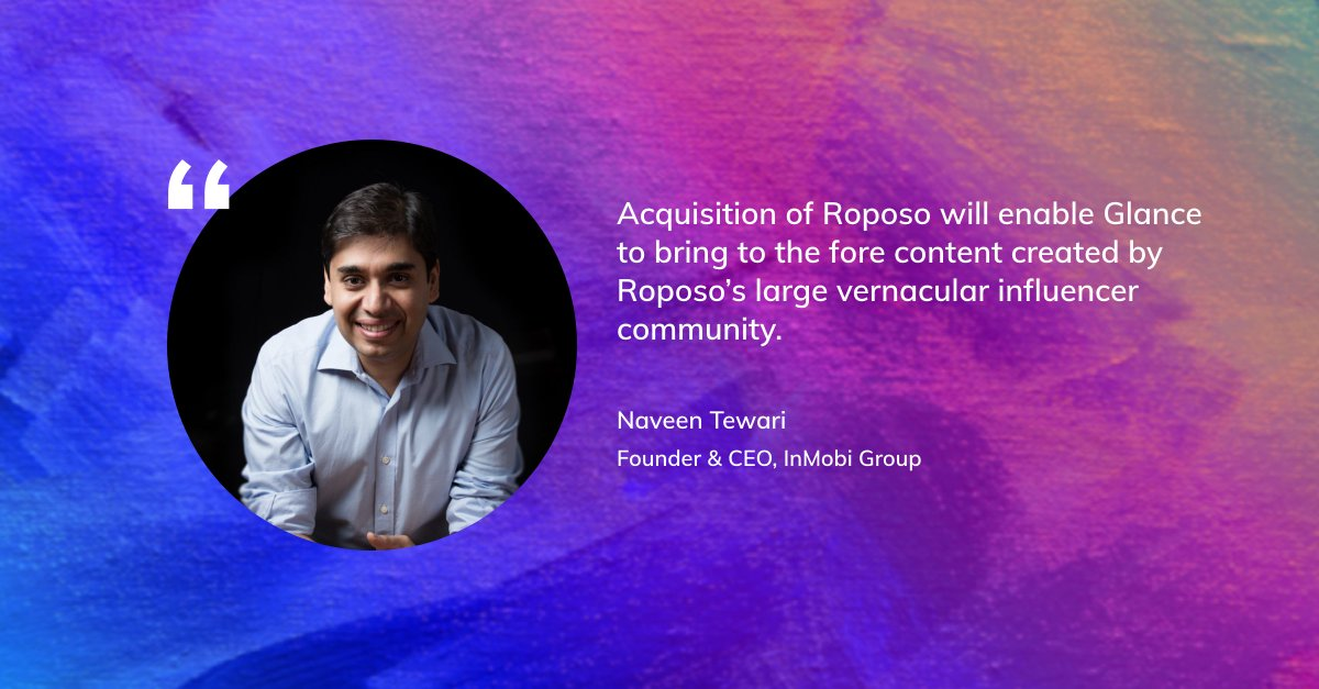Glance acquires @RoposoLove to build India's largest #vernacular #video platform for the #LockScreen, powered by local celebrities https://glance.com/newsroom/pressrelease/glance-acquires-video-platform-roposo…