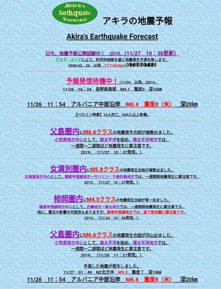 アキラ の 地震 予報
