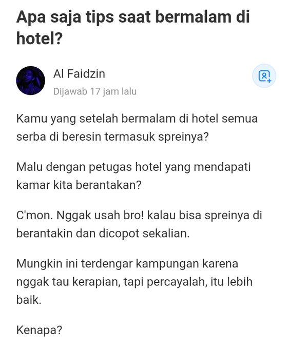 Unggahan yang berisi anjuran memberantakan seprei kamar hotel.