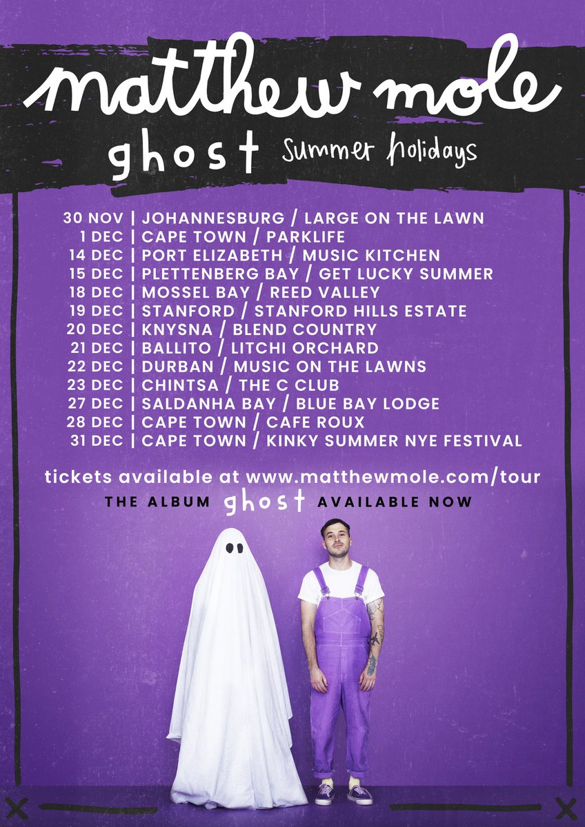 #GHOSTSummerHolidays kicks off this weekend. I can't tell you how excited I am to be in all of these beautiful places singing a bunch of new songs about trying not to be scared 💜👻 Tickets: matthewmole.com/tour