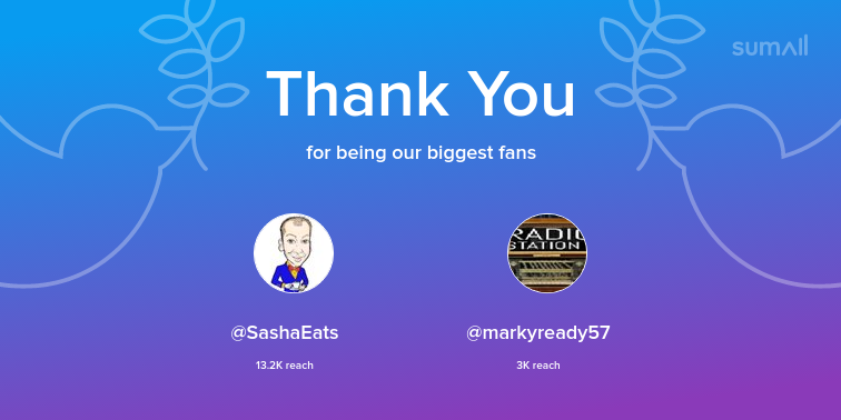 Our biggest fans this week: SashaEats, markyready57. Thank you! via sumall.com/thankyou?utm_s…