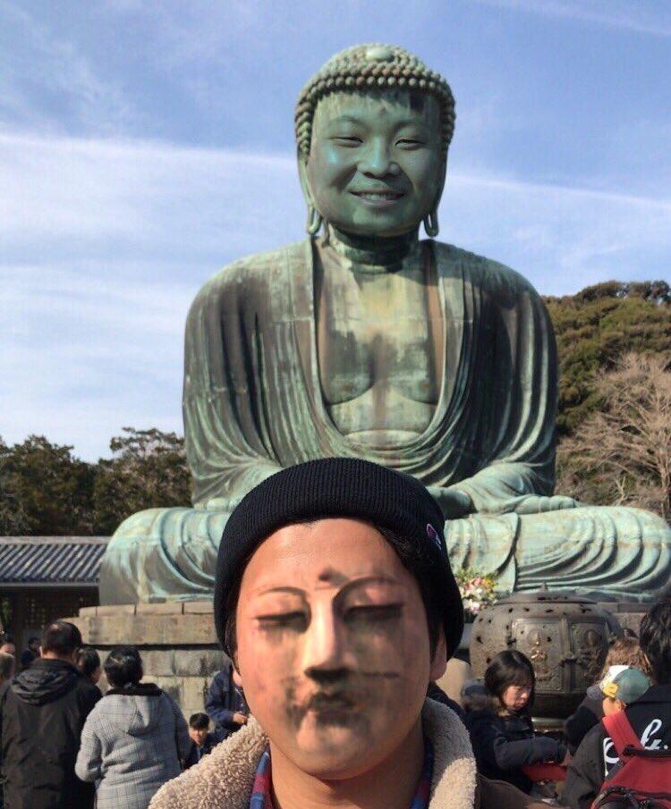 これで私も国宝に!鎌倉の大仏と顔交換してみた!