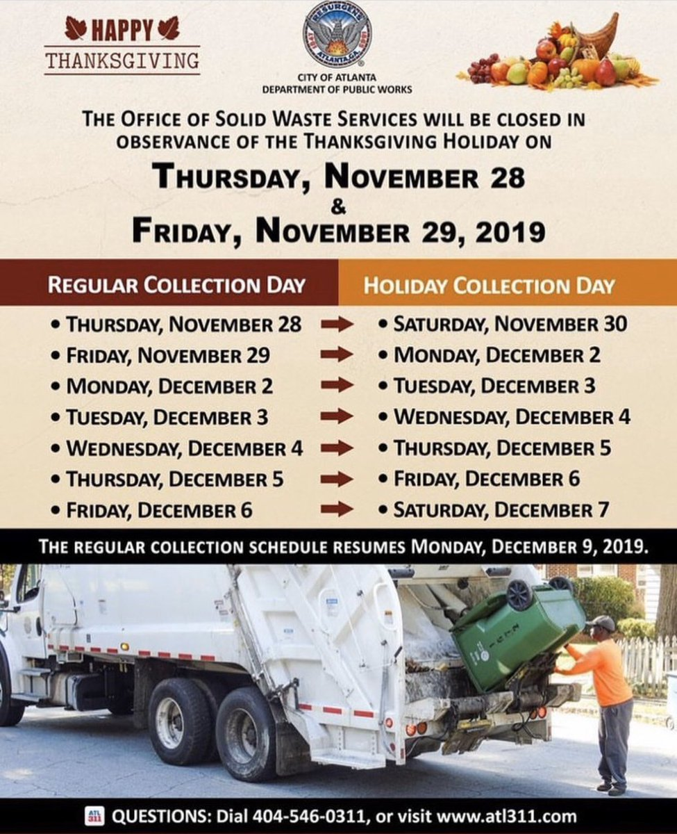 Reminder: The Office of Solid Waste Services will be closed on Thursday, November 28 and Friday, November 29 in observance of the Thanksgiving Holiday. See the graphic below for the revised collection schedule.