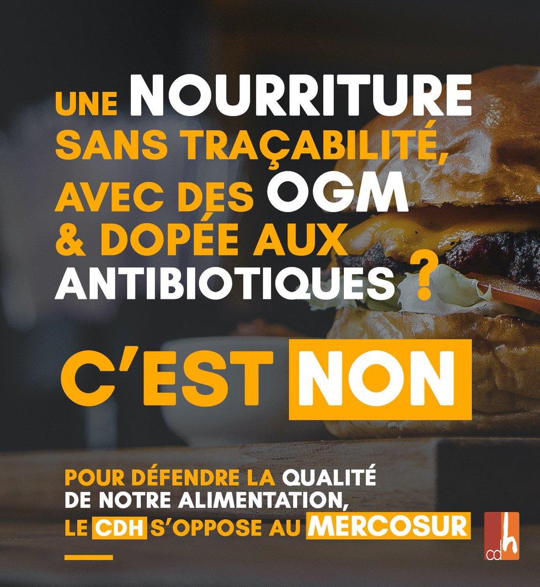 #STOPMERCOSUR Pour le @lecdh : c'est : ❌ NON pour notre assiette (manque de traçabilité avec OGM, antibiotiques...) ❌ NON pour nos agriculteurs (concurrence déloyale...) ❌ NON pour notre climat (cargos polluants, déforestation amazonienne...) @fugea @FWAgriculture https://t.co/wb3NXooHsw