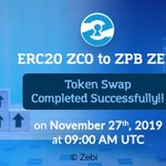 Image for the Tweet beginning: ERC20 ZCO to ZPB ZEBI