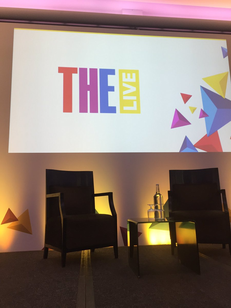 """The stage is set. Kevin Fong about to kick off #THELive with a keynote on 'Engagement in an age of acceleration""""!"""