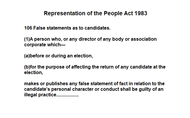Anyone who contravenes the terms of the Representation of the People Act 1983 should be reported to the @ElectoralCommUK  and the @cpsuk.  It matters not what party they are from. We are entitled to be told the truth and nothing but the truth. @annispice
