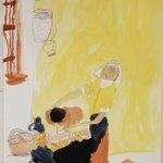 6歳の画伯のフェルメール模写がなかなかのできばえです。