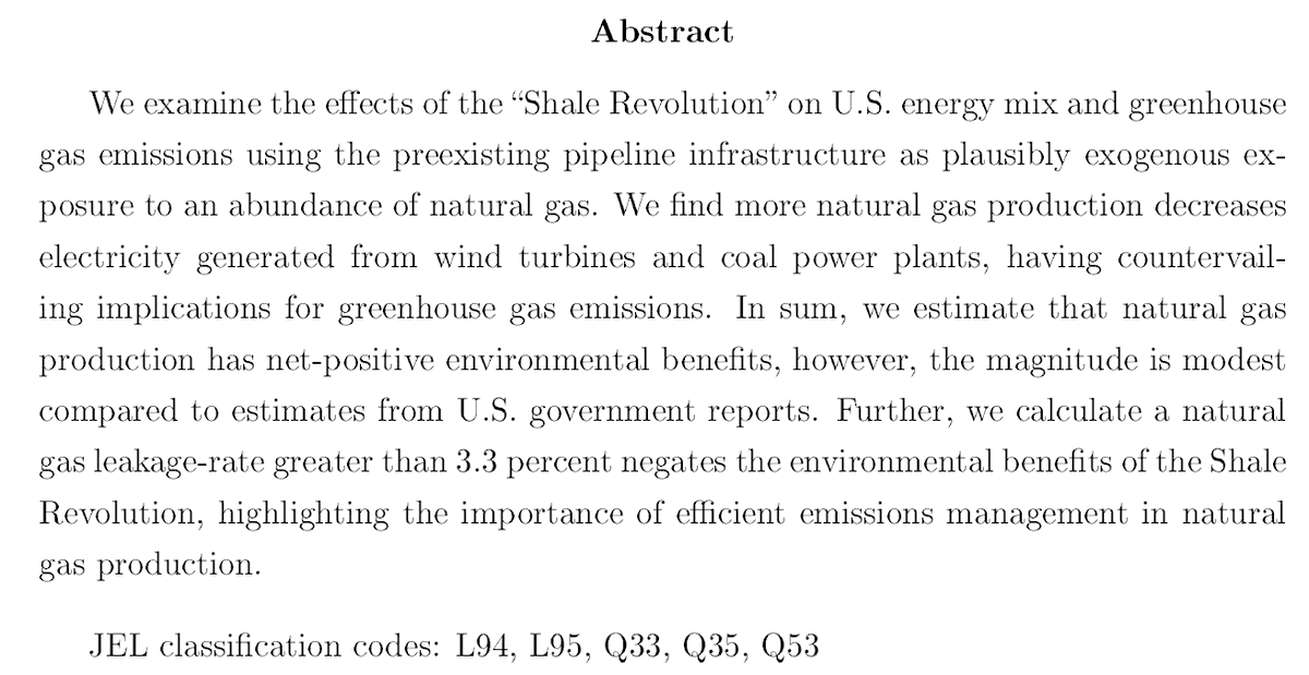 ResearchAbundant natural gas from the Shale Revolution transformed the electric power sector. No doubt. But, how much did abundant natural gas..- displace coal?- crowd-out investment in renewables?- reduce CO2 emissions?PAPER THREADWritten w/Jonathan Scott