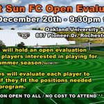 Image for the Tweet beginning: NOTICE DATE CHANGE PLAYER EVALUATIONS Due to circumstances