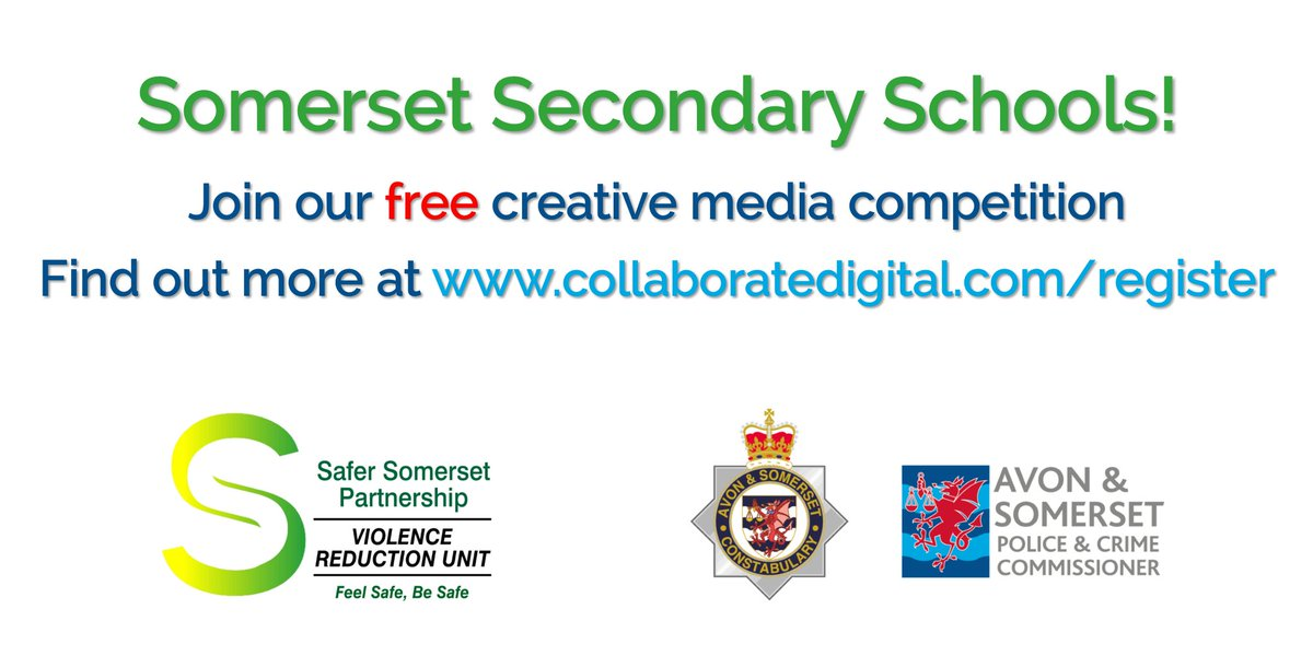 Welcome aboard @westfieldacad! Looking forward to hearing what your pupils want to say about staying safe in the modern world #youthvoice #collaboration #makingitreal Time to register your school to take part in The Safer Somerset Partnership Media Challenge @GryphonSchool