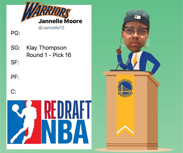 With the Sixteenth Pick of Round One @Jannelle12 Representing the @Warriors Selects: @KlayThompson #ReDraftNBA #NBATwitter #NBADraft #DubNationOn the clock: @BeccaMVP (@WashWizards)