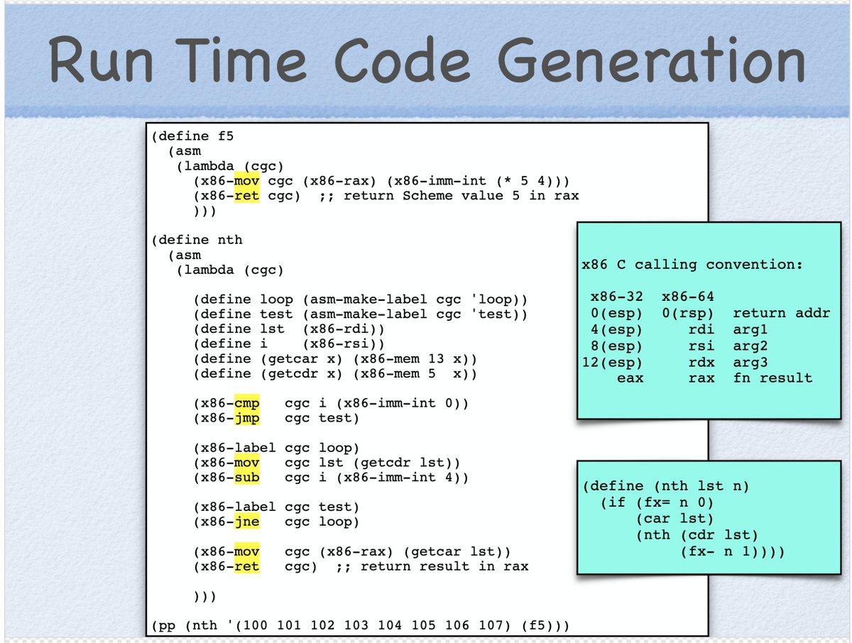 このasmというので実行時にネイティブコードを生成して普通に手続きとして呼べるのかっこいいなぁ (cf.