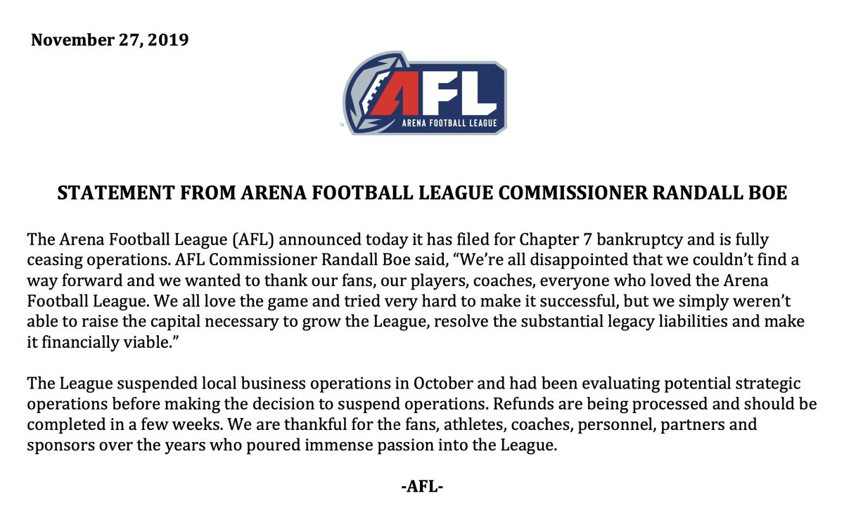 RT @OfficialAFL: The Arena Football League has issued the following statement. https://t.co/sFTtdAWRQV