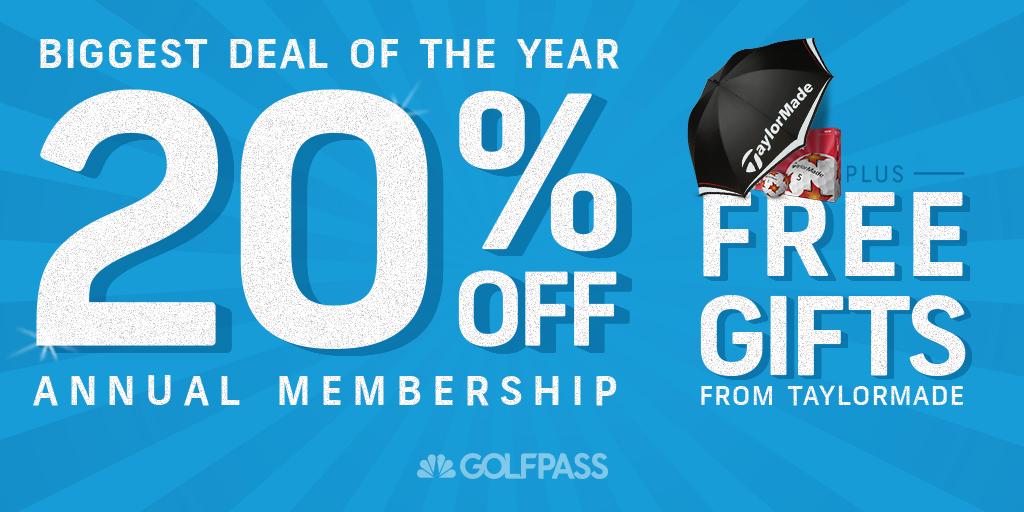 If youre searching for holiday deals, look no further! Get 20% off @GOLFPASS annual membership plus earn free @TaylorMadeGolf swag 🎁 Join NOW: watchgolf.ch/8qSLe2