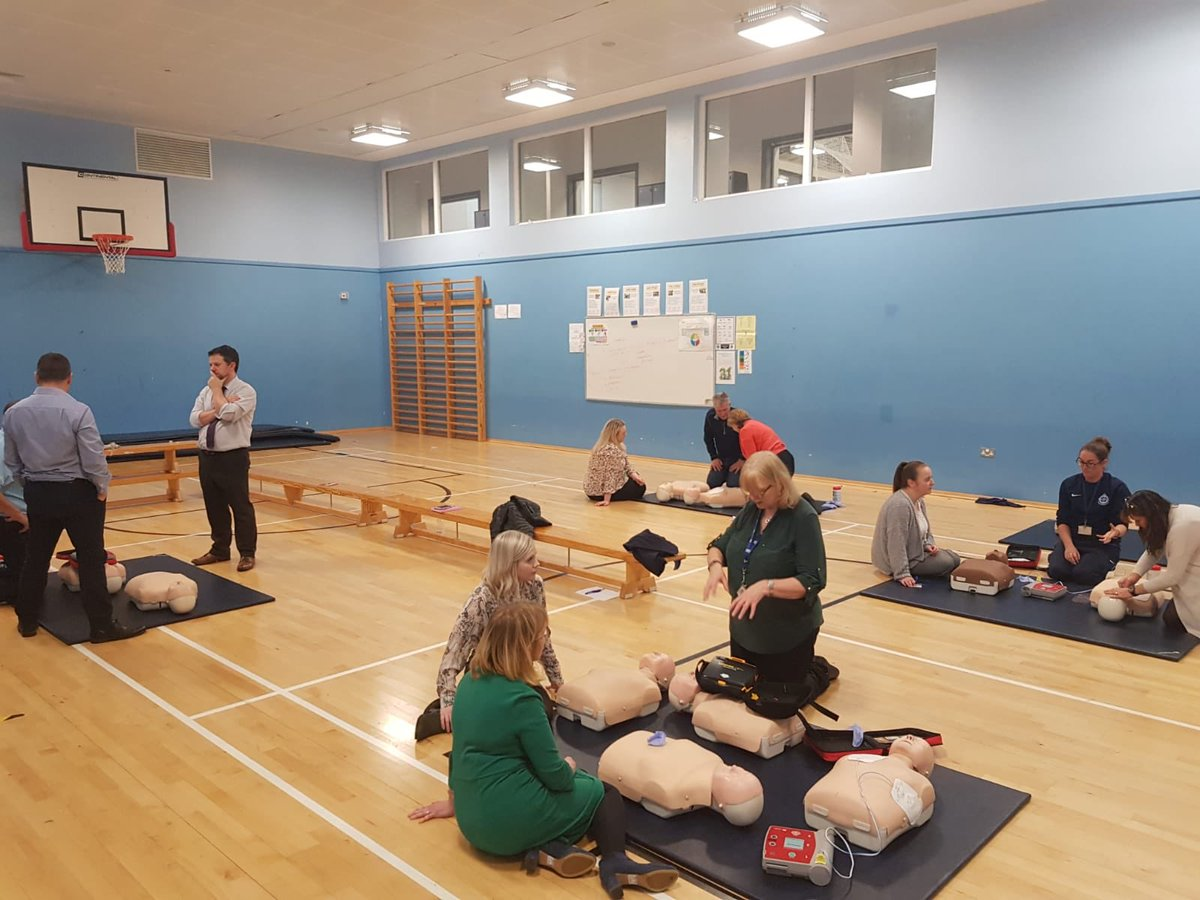 We aorta tell you just how hard the staff of @_stcolumba work to keep our young people safe and well during our care ❤️. Heart start and defibrilator training.  Thank you to Angela McNeil and team from @NHSGGC #stayin'alive