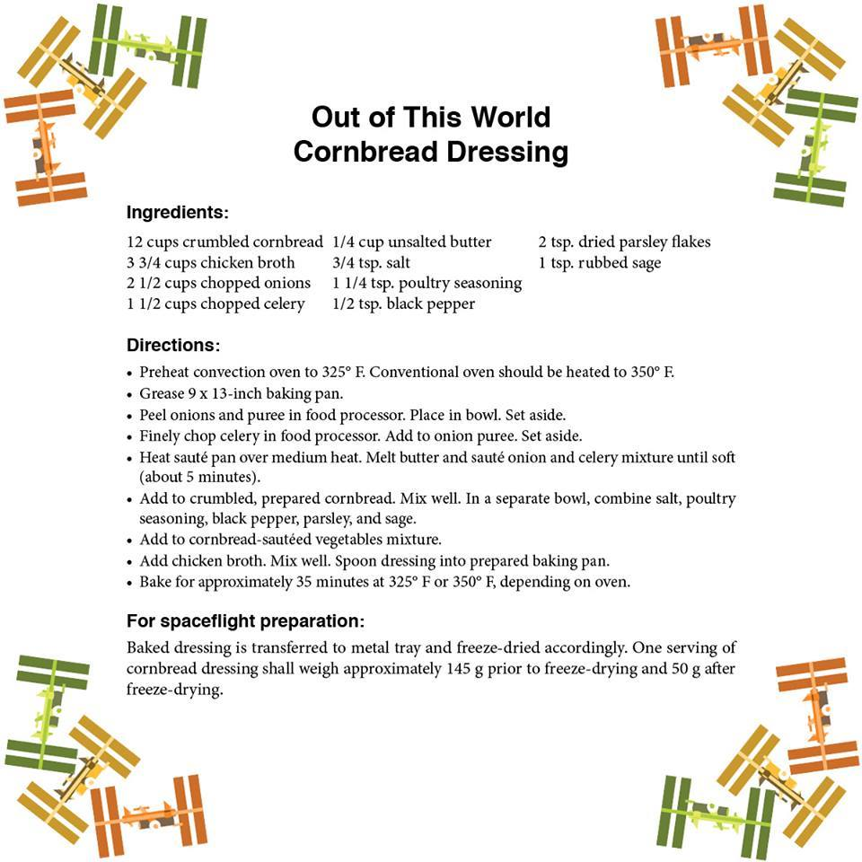 Thanks to the Space Food Systems Laboratory at @NASA_Johnson, the crew members will get a taste of home this holiday! Check out the recipe for the same cornbread dressing that will be part of the only Thanksgiving meal in space this year: nasa.gov/feature/out-of…