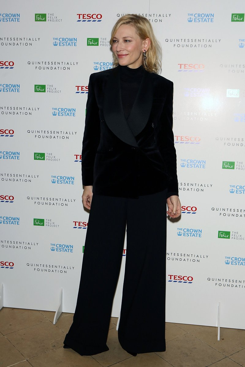 Cate Blanchett wears a full #RLCollection tuxedo look at the Fayre of St. James's Christmas Carol Concert hosted by the Quintessentially Foundation and @TheCrownEstate in London