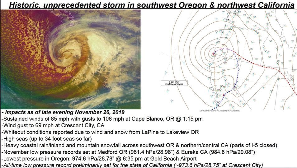 #BombCyclone2019 #Oregon #LA #SanFrancisco #Norcal #meteorologist #November #Eurkea