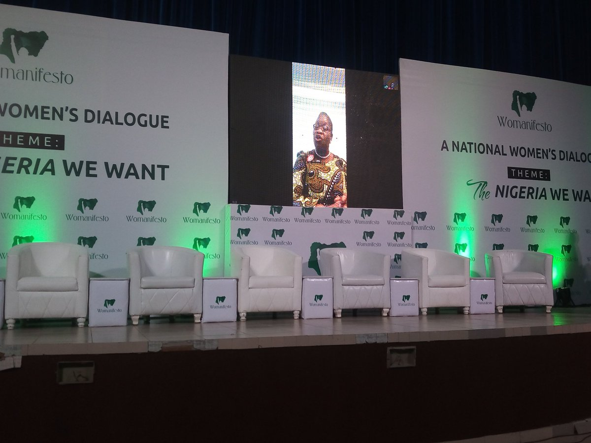 """There is no doubt when we look at all the indicators of development be it social, economic and indeed political, Nigeria is falling when we look at the gender gap reports produced by different institutions around the world"" ~ @obyezeks  #womanifesto2019  #TheNigeriaWomenWant https://t.co/Km8Tc7dJua"