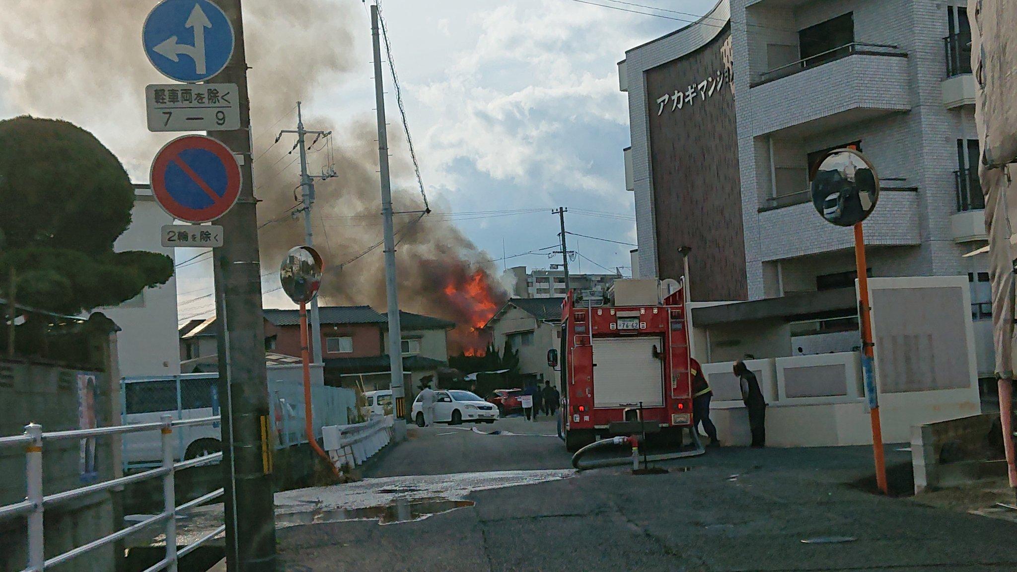 岡山市南区新福で火事が起きている現場の画像