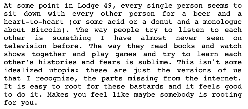 "Love letter❤️ by Miracle Jones to @Lodge49 ""An Acroamatic Masterpiece Dispatched to This Wounded Earth by Dexterous Angels"" #SaveLodge49 #Lodge49 #lodge49forever #JoinLodge49"