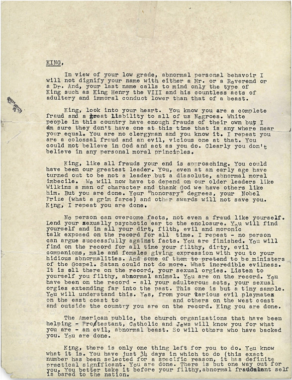 THIS is how we know that the FBI tried to blackmail MLK into commit suicide. <br>http://pic.twitter.com/B65ydjDs4b