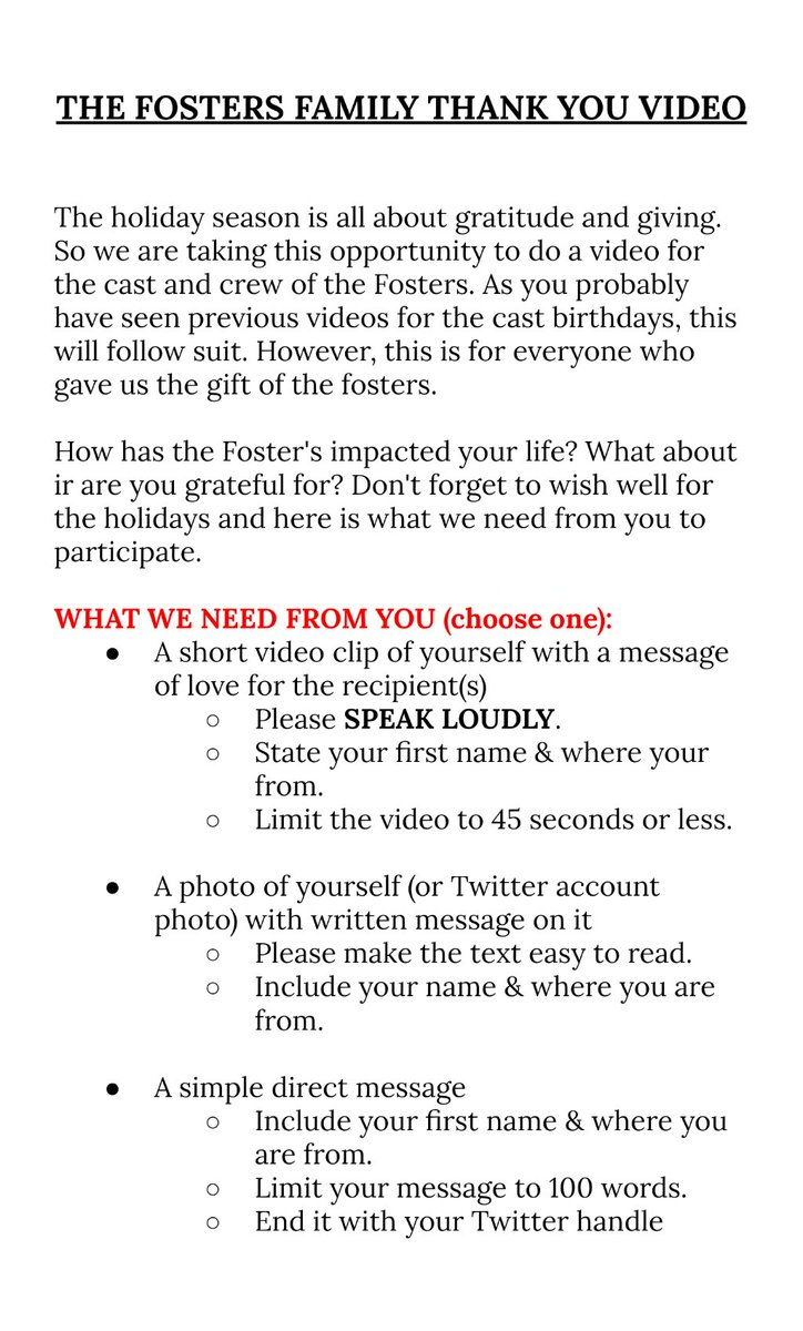 Here are #TheFostersFamilyThankYou video details.  (If you need them translated please message us.)  Task list that we need volunteers for will be up tomorrow.  *Please RT in order to give ALL fans a chance to say Thank you.*   #TheFosters #GoodTrouble #FFFamily #FostersFamily<br>http://pic.twitter.com/LFI7w0Y9Kf