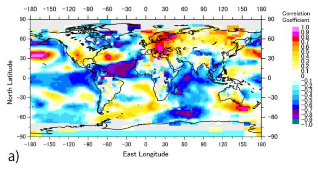 NAOがAMOや海氷の消長に影響し、太陽風がNAO (やAO(北極振動))に影響することから、太陽風はAMOや海氷消長に間接的に影響すると言えそう。以前、太陽風指標と気温の条件付き相関で図のように大西洋でも大きな値を観測したが、その解釈のヒントになる。
