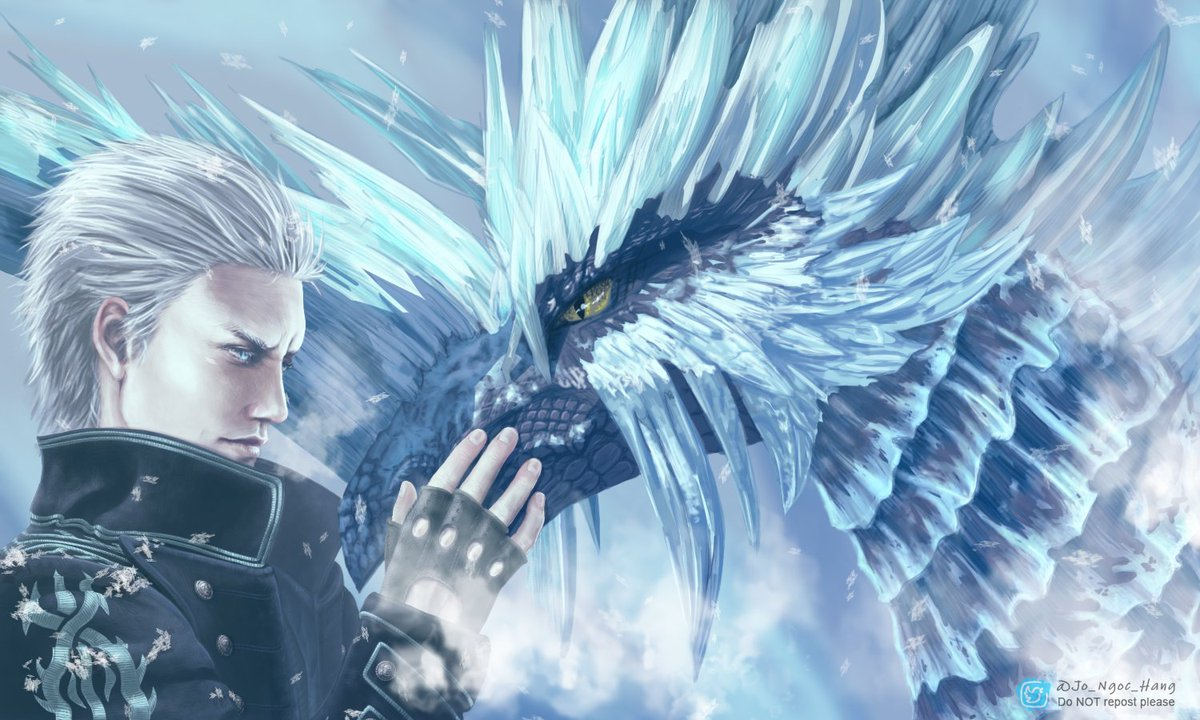 I feel the urge to yell my love to the 2 games I loved the most this year : #DevilMayCry5 and #MonsterHunterWorld ! So RT very appreciated 🙏💕 I think Vergil & Velkhana are a good pair ❄️ #DMC5 #DevilMayCry #MHW #MHWIB