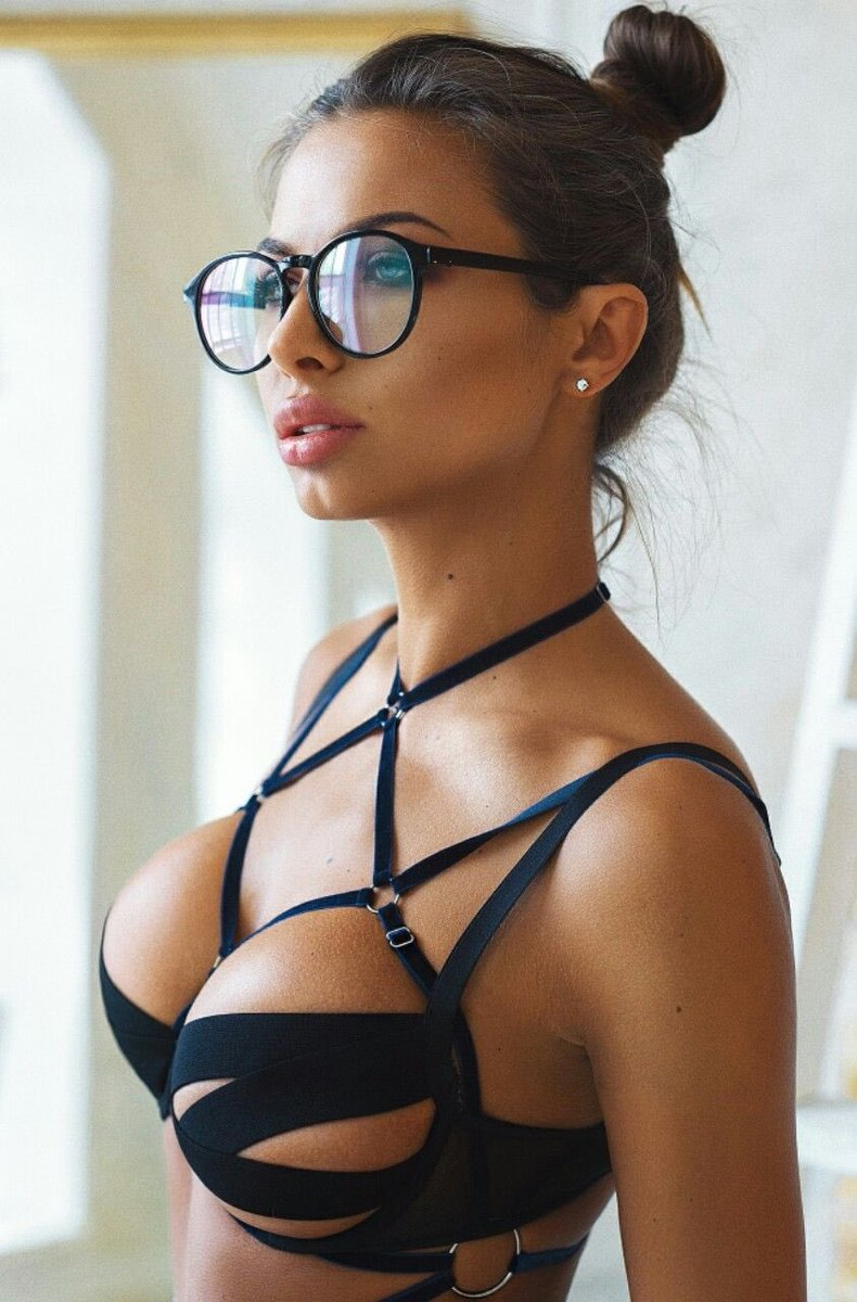 Naked girl with glasses and fantastic tits pounded