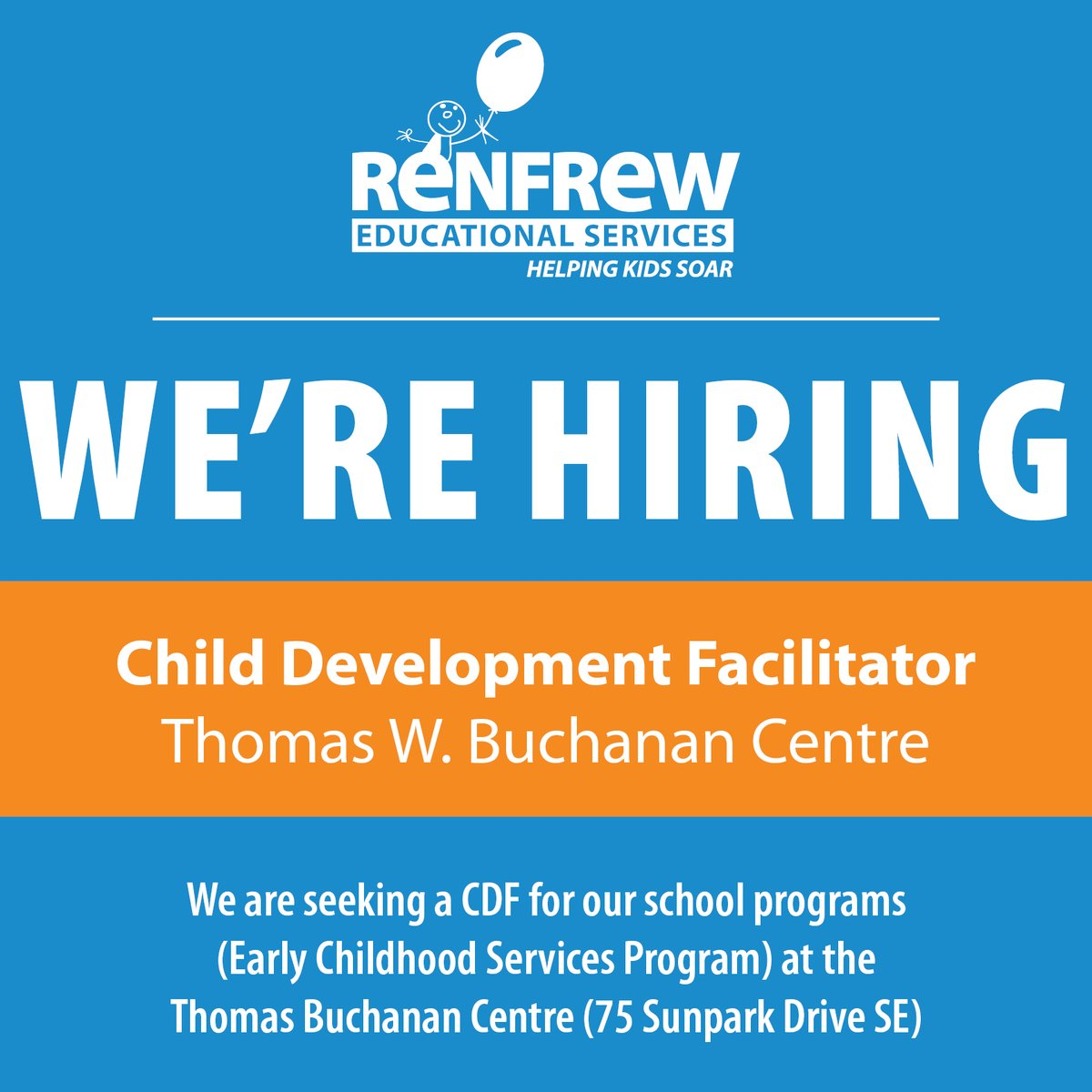 We're #Hiring! Apply to become a Child Development Facilitator at our Thomas W. Buchanan Centre or our Park Place Centre. You'll partner with teachers and the therapy team to facilitate daily classroom plans in an fun environment. #YYCJobs  Visit