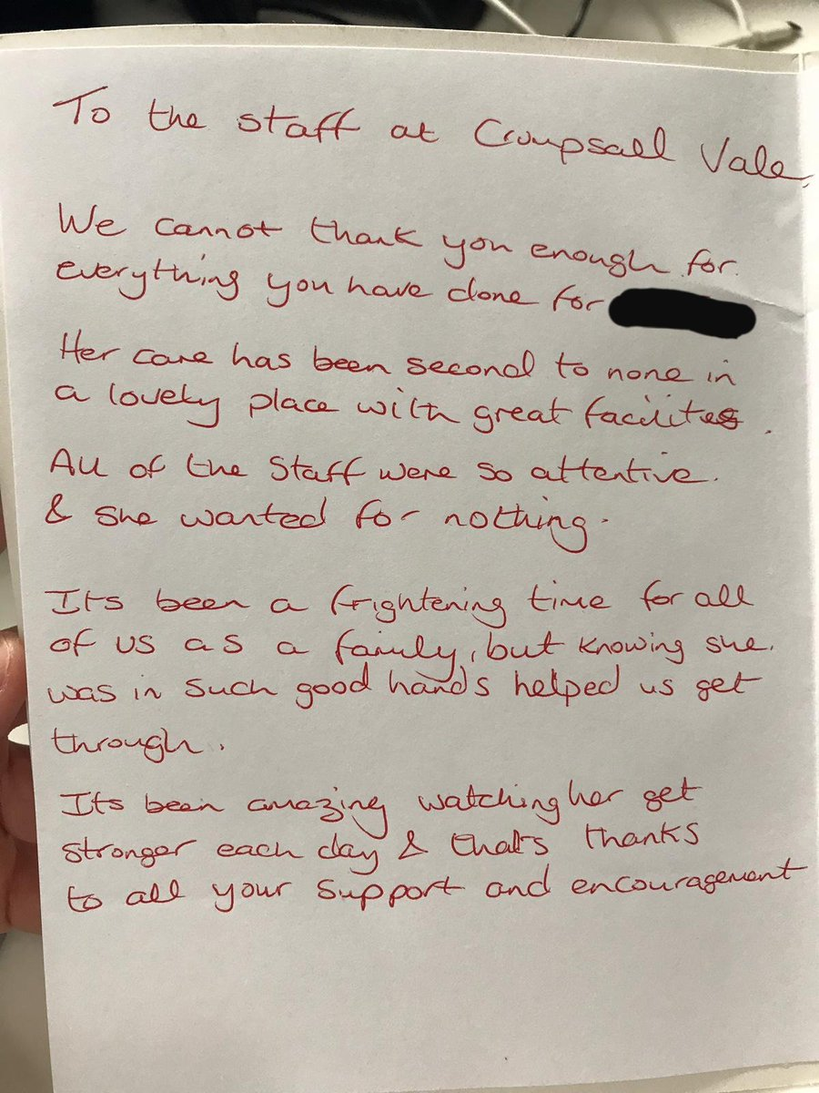 We are always so thankful for wonderful comments 🌟- well done #CrumpsallVale for again receiving wonderful feedback 👏. Great things can happen when we work together  #workingtogether #MDT #everyonematters #positivefeedback #proudtocare https://t.co/hJWoQ7vQ26