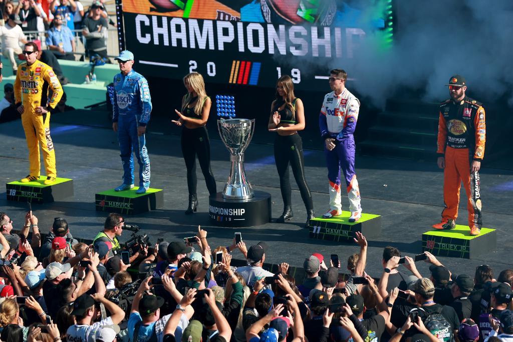 Which 2019 #Championship4 driver has the best shot at winning it all in 2020?  @KyleBusch | @KevinHarvick | @dennyhamlin | @MartinTruex_Jr<br>http://pic.twitter.com/JQ8wmRa4Rs