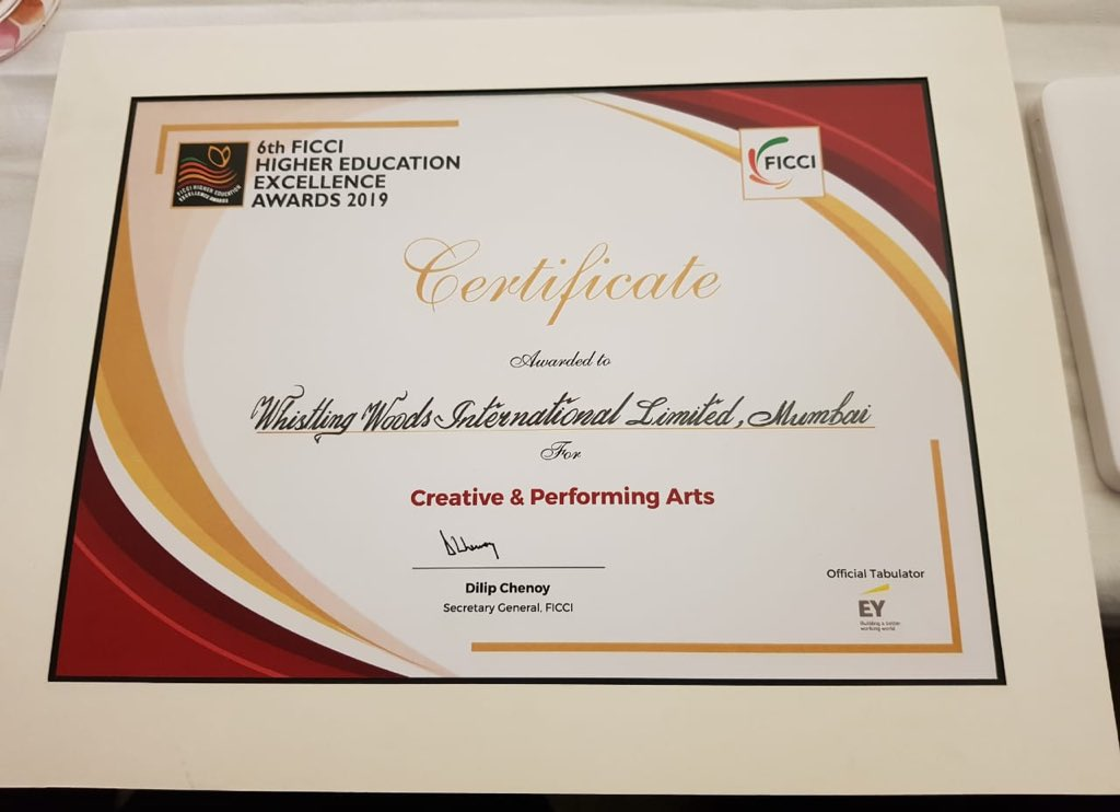 @Whistling_Woods wins the Best institute in India for Creative and Performing Arts award at the FICCI Higher Education Awards 2019. Thank you to the whole team and every member of WWI over the years who helped build us into what we are!