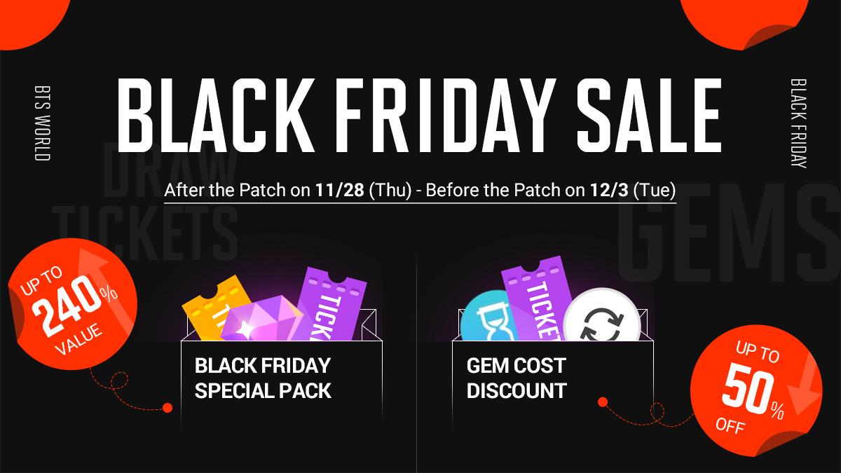[Notice] #BTSWORLD #BlackFriday_Special_Event 🖤Special Black Friday Packs🖤 🖤Gem Discount Event🖤 [View Details] ▶forum.netmarble.com/btsworld/view/…