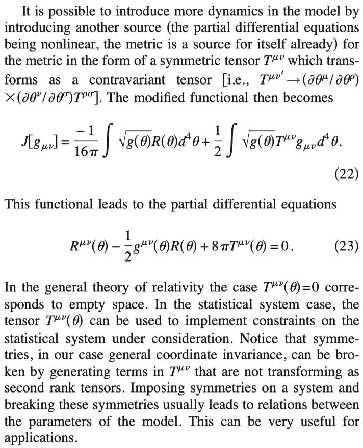 情報幾何の世界でもアインシュタイン方程式が成り立つことが知られている.1. Dynamics of the Fisher information metric2. Emergent General Relativity from Fisher Information Metric