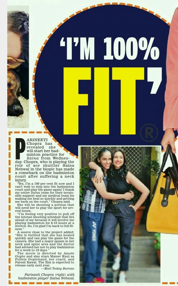'I'm 100% fit' : @ParineetiChopra  #parinitichopra #sainanehwalbiopicpic.twitter.com/ZVFxQ3YnBJ