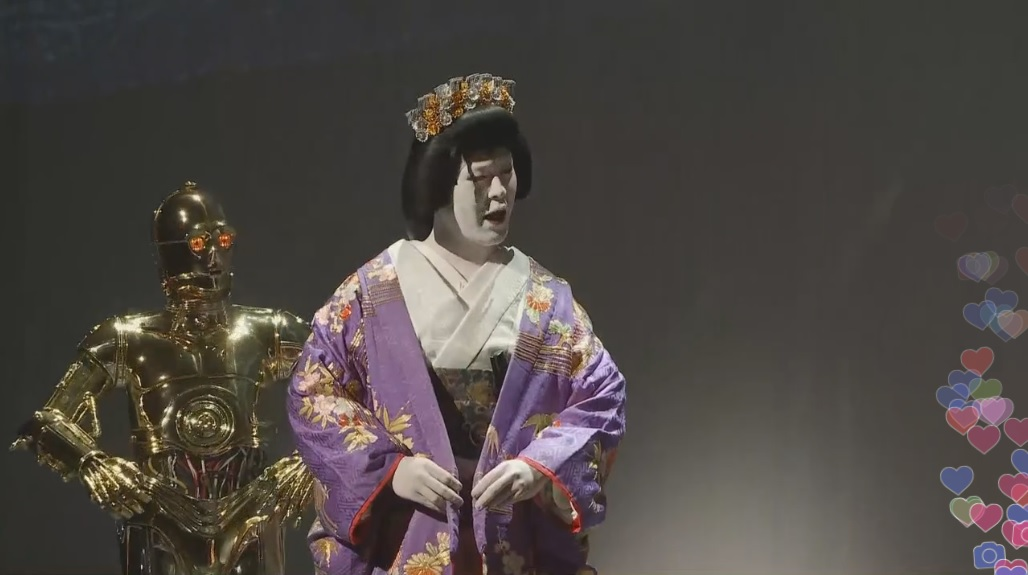 何はさておいても『STAR WARS 歌舞伎』、C3POだけそのまんまなの卑怯すぎると思うんですヨ。(※手前が多分レイア姫)