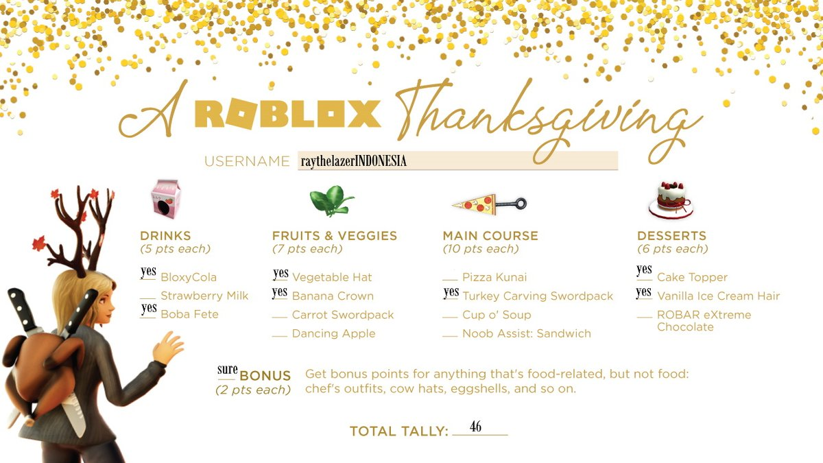 @Roblox Wow im Full Of Food I might be going super Here ;-; #Thanksgiving2019 Plus